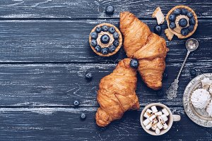 Croissants on a blue background