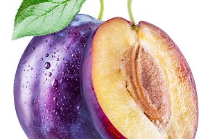 Plums with water drops.