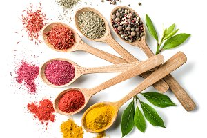 Spices in the wooden spoons