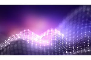 Music background. Big Data Particle Flow Visualisation. Science infographic futuristic illustration. Sound wave. Sound visualization