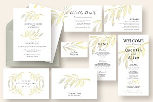 Watercolor Branch Wedding Suite