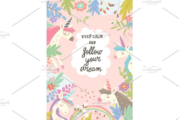 Cute magic frame composed of unicorns and flowers ~ Illustrations ...