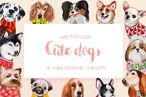Watercolor Cute Dogs+Calendar