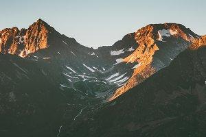 Sunset rocky Mountains Landscape