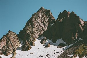 Rocky Mountain peaks and blue sky