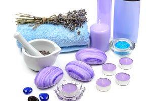Soap, shampoo, towel, lavender oil