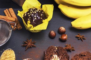 chocolate cupcakes with banana