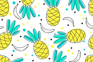 Banana & pineapple seamless pattern