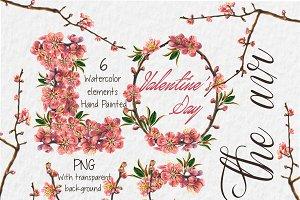 Watercolor Valentine's clip art