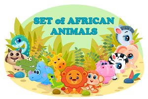 Set of 12 African cartoon animals