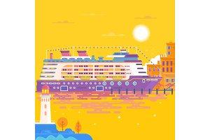 Summer travel cruise ship. Sea landscape.