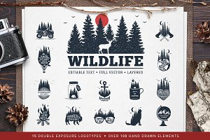 WildLife. 15 Double Exposure Badges
