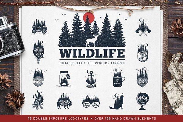 WildLife. 15 Double Exposure Badges