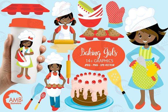 Baking Girls Clipart AMB-1135