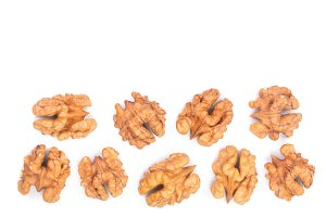 walnut kernels isolated on white background with copy space for your text. Top view. Flat lay