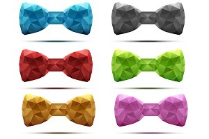 Set of abstract fashion bow tie