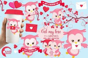 Valentines Owls Clipart AMB-1179