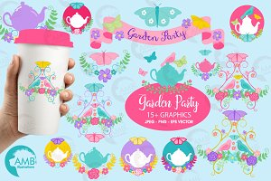 Garden party teapot clipart AMB-1241