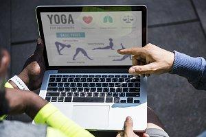 Closeup of yoga instruction (PSD)
