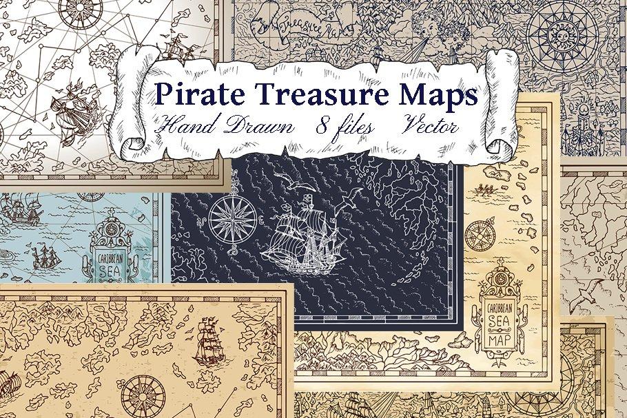 Pirate Treasure Maps Vector