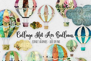 Collage Hot Air Balloon Clipart