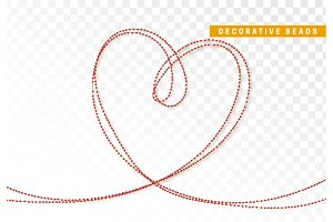 String beads realistic isolated. Decorative design element red bead