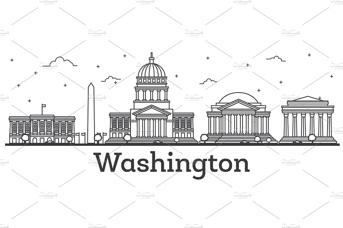 Outline Washington DC USA City ~ Illustrations ~ Creative
