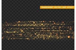 Glowing lights golden glitter. Sparkle particles texture.