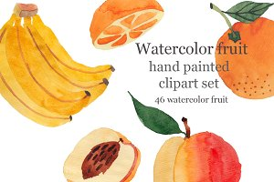 Watercolor fruit