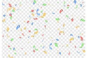 Falling shiny colorful confetti isolated on transparent background.