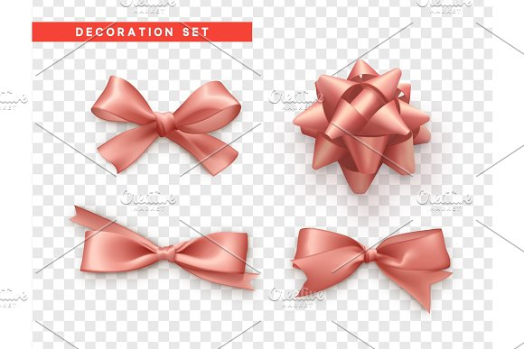 Bows pink realistic design. Isolated gift bows with ribbons