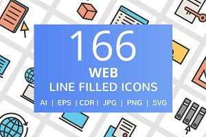 166 Web Filled Line Icons
