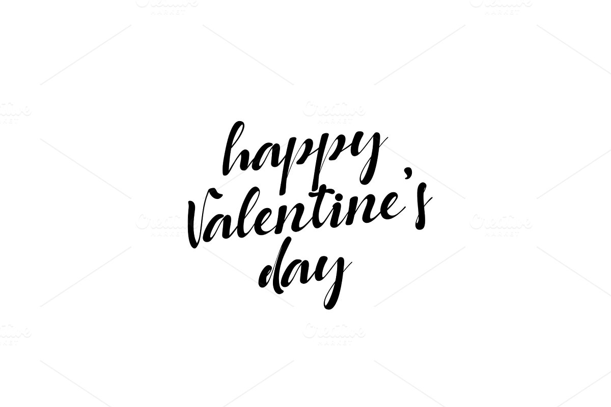 Lettering happy Valentines Day. Greeting Cards holiday.