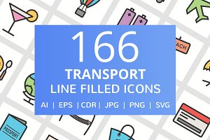 166 Transport Filled Line Icons