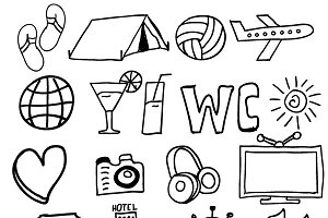 Travel and vacation doodle icons