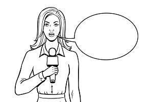 Journalist with microphone coloring book vector