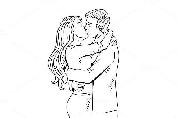 Kissing couple coloring book vector
