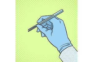 Hand of scientist in glove pop art vector