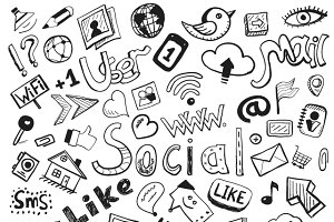 Vector social doodles set