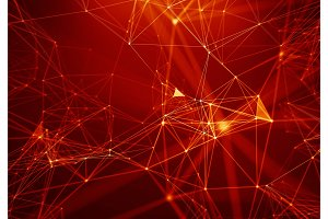 Abstract Red Geometrical Background . Connection structure. Science background. Futuristic Technology HUD Element . onnecting dots and lines . Big data visualization and Business .
