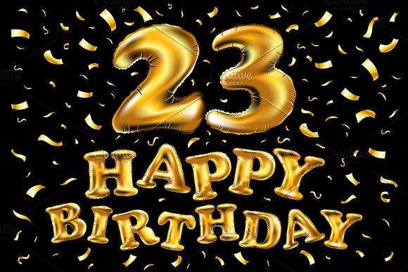 Happy Birthday 23 Gold Balloon