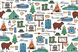 Pattern with tourism symbols