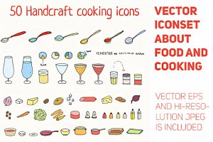 Handcraft cooking icons set