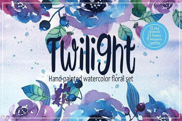 Twilight. Watercolor flower-Graphicriver中文最全的素材分享平台