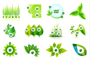Set of eco leaf infographic designs