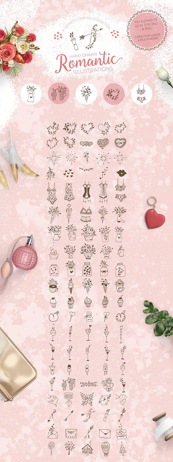 Romantic Hand Drawn Logo Elements