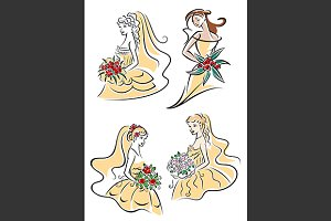 Happy outline brides with bouquets