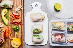 Healthy Rice paper rolls preparation