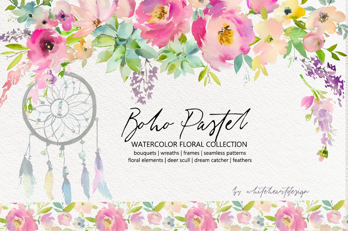 Boho Pastel Watercolor Flowers Set Illustrations Creative Market