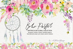 Boho Pastel Watercolor Flowers Set